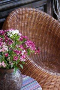 Rattansitzmöbel, Vordergrund Blumenstrauß in Vase